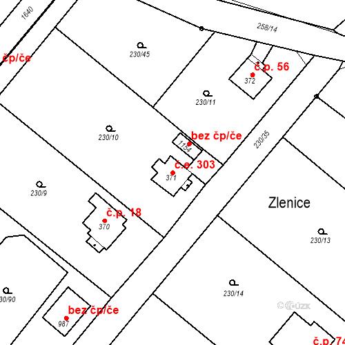 Katastrální mapa Stavební objekt Zlenice 303, Lštění