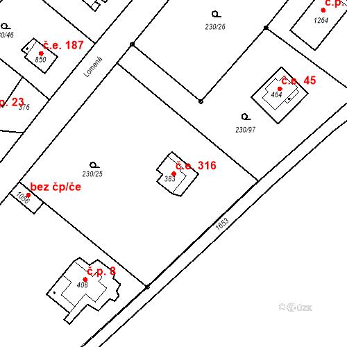 Katastrální mapa Stavební objekt Zlenice 316, Lštění