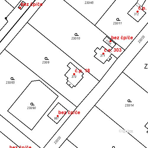 Katastrální mapa Stavební objekt Zlenice 18, Lštění