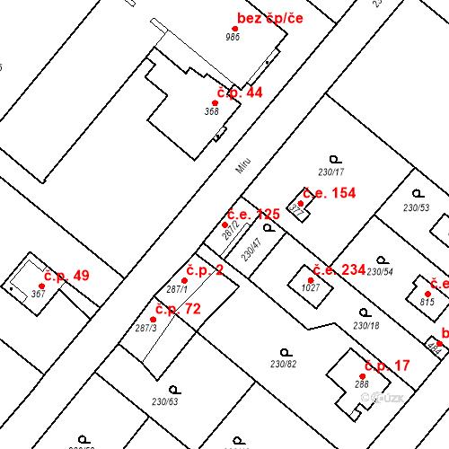 Katastrální mapa Stavební objekt Zlenice 125, Lštění