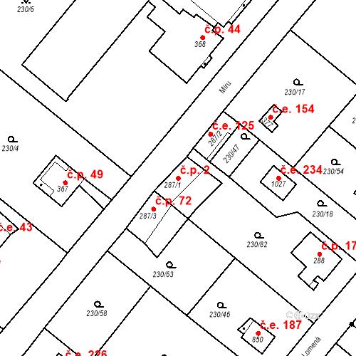 Katastrální mapa Stavební objekt Zlenice 2, Lštění