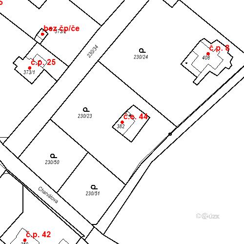 Katastrální mapa Stavební objekt Zlenice 44, Lštění