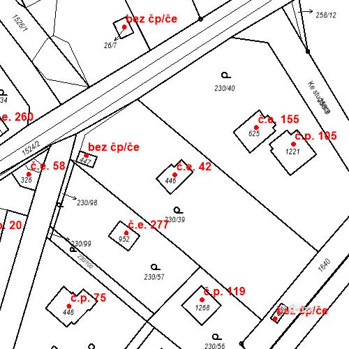 Katastrální mapa Stavební objekt Zlenice 42, Lštění