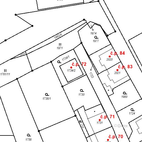 Katastrální mapa Stavební objekt České Velenice 72, České Velenice