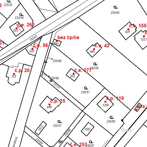 Katastrální mapa Stavební objekt Zlenice 277, Lštění