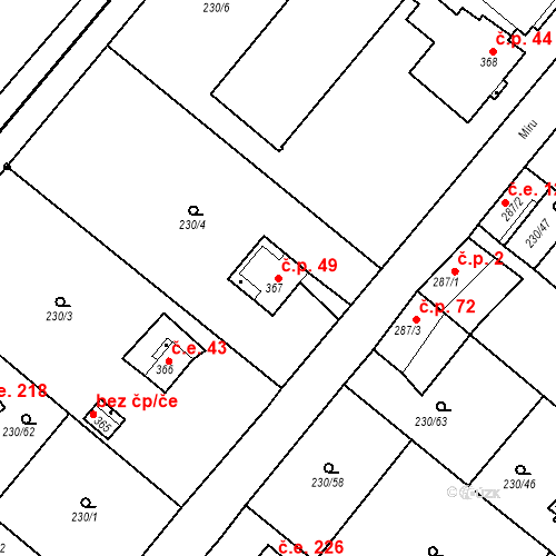 Katastrální mapa Stavební objekt Zlenice 49, Lštění