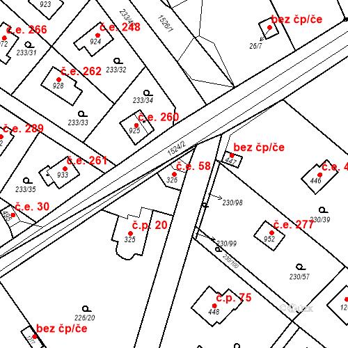 Katastrální mapa Stavební objekt Zlenice 58, Lštění