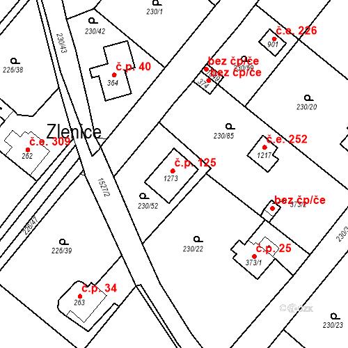 Katastrální mapa Stavební objekt Zlenice 198, Lštění