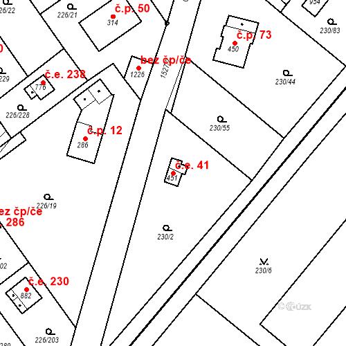 Katastrální mapa Stavební objekt Zlenice 41, Lštění