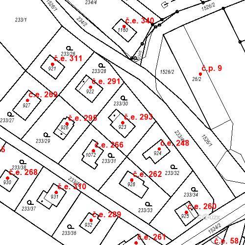 Katastrální mapa Stavební objekt Zlenice 293, Lštění