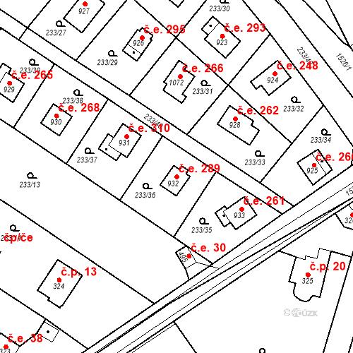 Katastrální mapa Stavební objekt Zlenice 289, Lštění