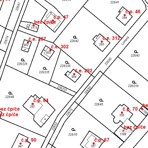 Katastrální mapa Stavební objekt Zlenice 292, Lštění