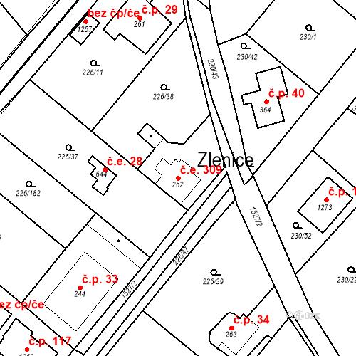 Katastrální mapa Stavební objekt Zlenice 309, Lštění