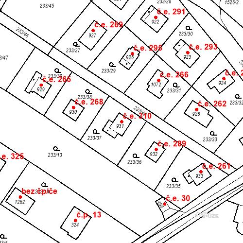 Katastrální mapa Stavební objekt Zlenice 310, Lštění