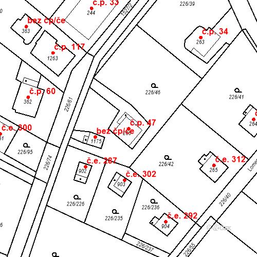 Katastrální mapa Stavební objekt Zlenice 47, Lštění