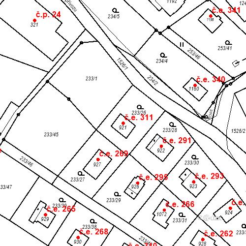 Katastrální mapa Stavební objekt Zlenice 311, Lštění