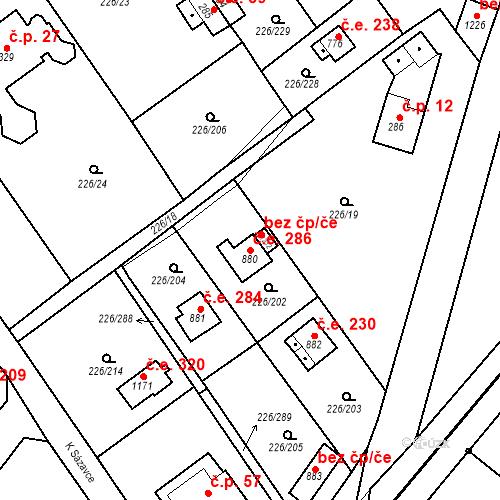 Katastrální mapa Stavební objekt Zlenice 286, Lštění