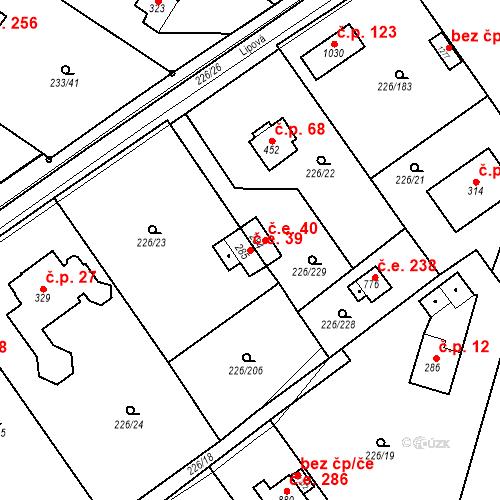 Katastrální mapa Stavební objekt Zlenice 39, Lštění