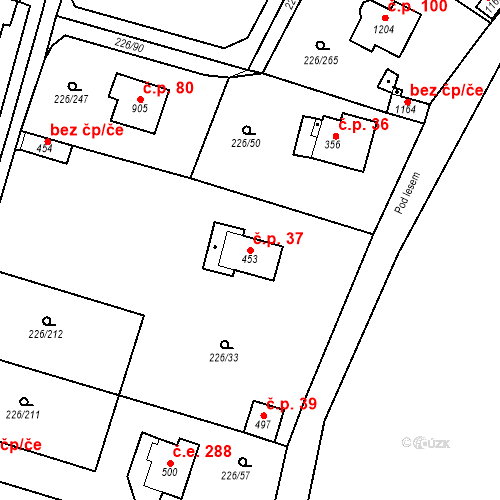 Katastrální mapa Stavební objekt Zlenice 37, Lštění
