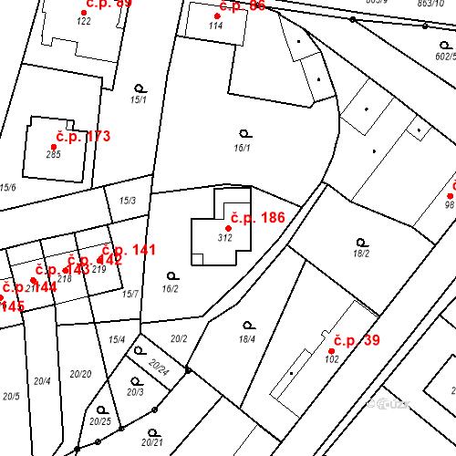 Katastrální mapa Stavební objekt Choustník 186, Choustník