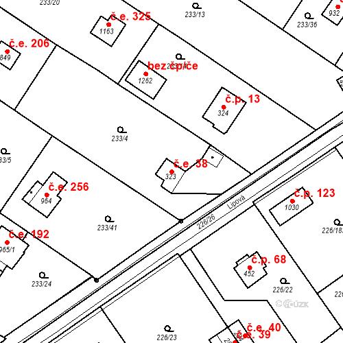 Katastrální mapa Stavební objekt Zlenice 38, Lštění