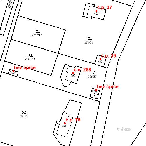 Katastrální mapa Stavební objekt Zlenice 288, Lštění