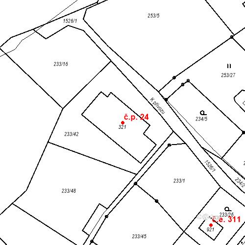 Katastrální mapa Stavební objekt Zlenice 24, Lštění