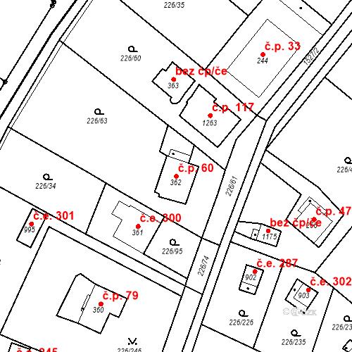 Katastrální mapa Stavební objekt Zlenice 60, Lštění