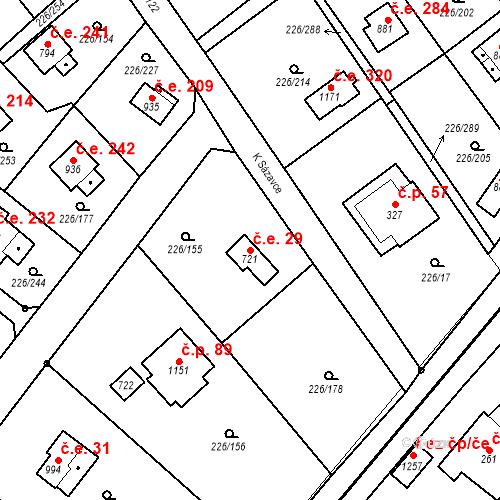 Katastrální mapa Stavební objekt Zlenice 29, Lštění