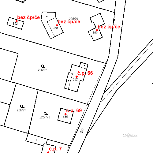 Katastrální mapa Stavební objekt Zlenice 66, Lštění