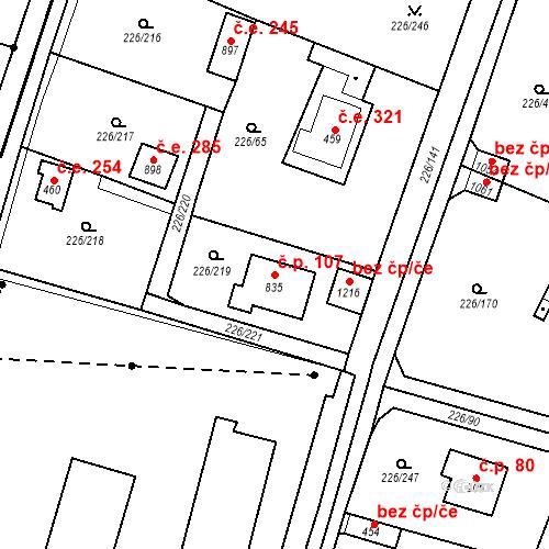 Katastrální mapa Stavební objekt Zlenice 107, Lštění