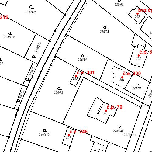 Katastrální mapa Stavební objekt Zlenice 301, Lštění