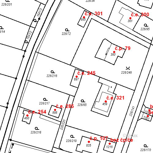 Katastrální mapa Stavební objekt Zlenice 245, Lštění