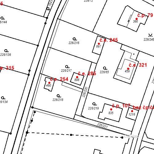 Katastrální mapa Stavební objekt Zlenice 285, Lštění