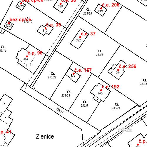 Katastrální mapa Stavební objekt Zlenice 157, Lštění
