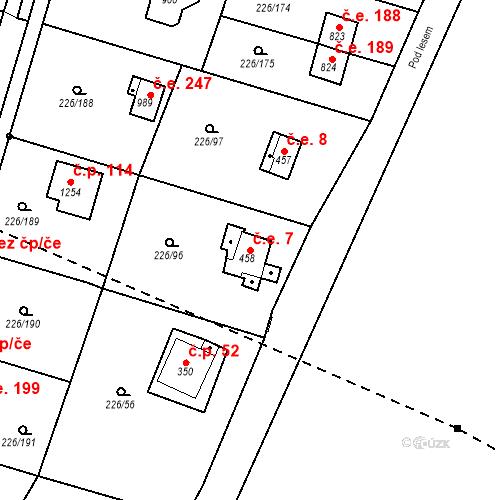 Katastrální mapa Stavební objekt Zlenice 7, Lštění