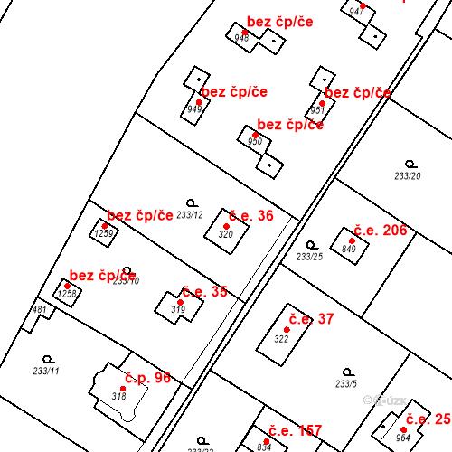 Katastrální mapa Stavební objekt Zlenice 36, Lštění