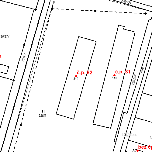 Katastrální mapa Stavební objekt Zlenice 82, Lštění
