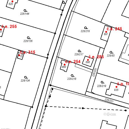 Katastrální mapa Stavební objekt Zlenice 254, Lštění