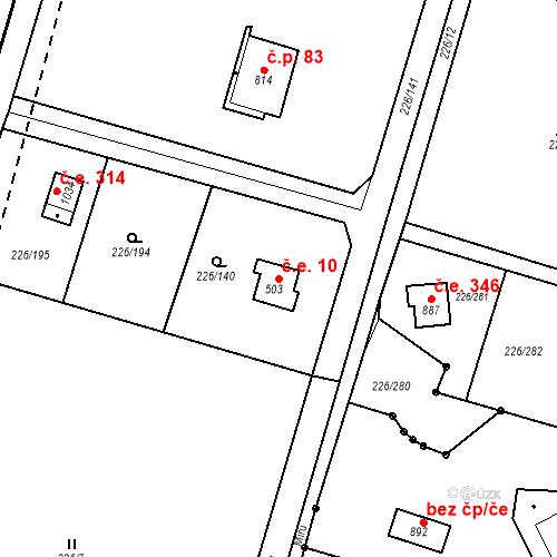 Katastrální mapa Stavební objekt Zlenice 10, Lštění