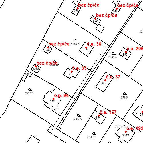 Katastrální mapa Stavební objekt Zlenice 35, Lštění