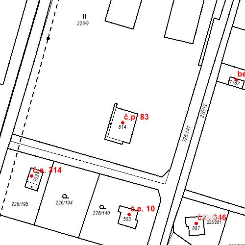 Katastrální mapa Stavební objekt Zlenice 83, Lštění