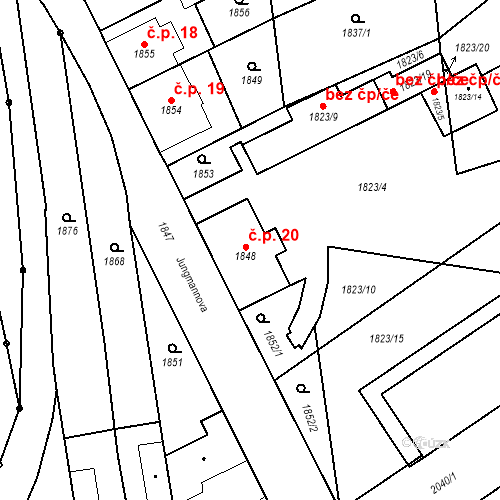 Katastrální mapa Stavební objekt České Velenice 20, České Velenice