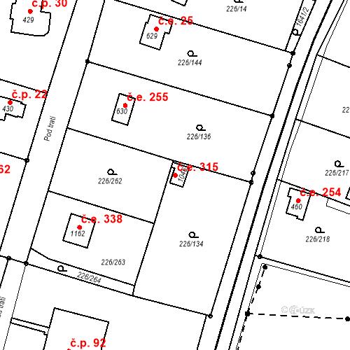 Katastrální mapa Stavební objekt Zlenice 315, Lštění