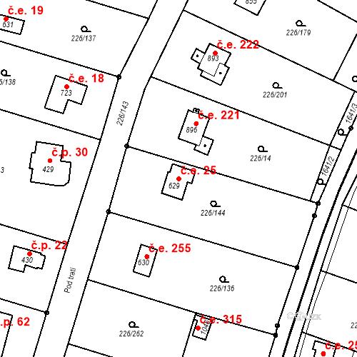 Katastrální mapa Stavební objekt Zlenice 25, Lštění