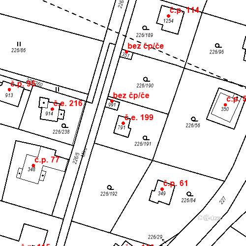 Katastrální mapa Stavební objekt Zlenice 199, Lštění