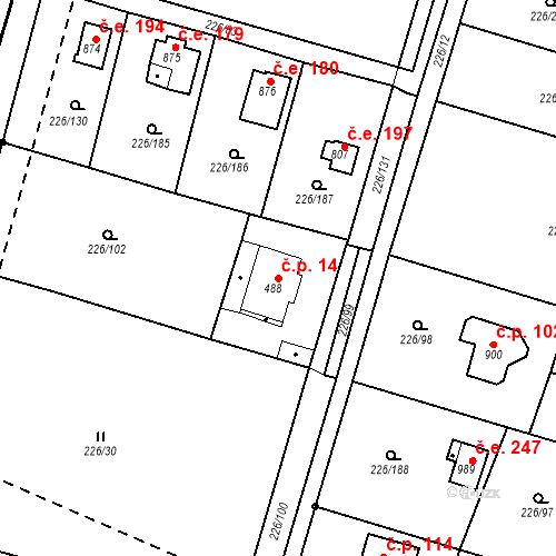 Katastrální mapa Stavební objekt Zlenice 14, Lštění