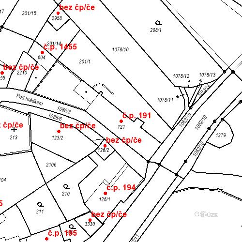 Katastrální mapa Stavební objekt Brandýs nad Labem 191, Brandýs nad Labem-Stará Boleslav