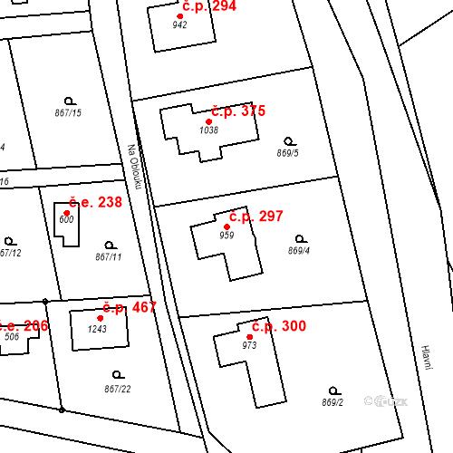 Katastrální mapa Stavební objekt Mirošovice 297, Mirošovice