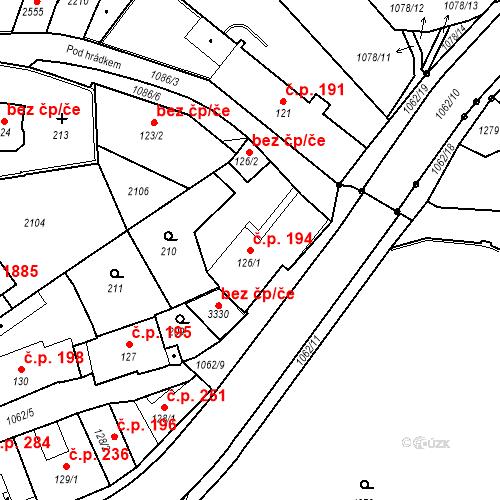Katastrální mapa Stavební objekt Brandýs nad Labem 194, Brandýs nad Labem-Stará Boleslav